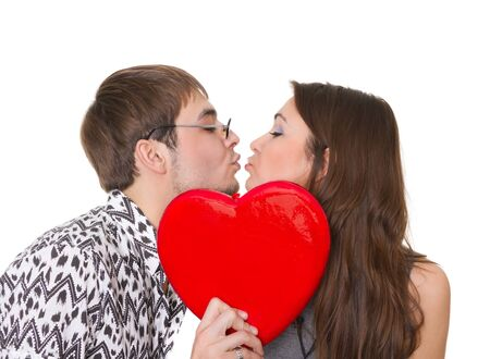 funny guy nerdy and glamorous girl in a Valentine's Day Stock Photo - 9824421