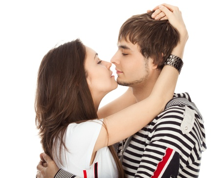 passionate kiss of couples in love isolated on white