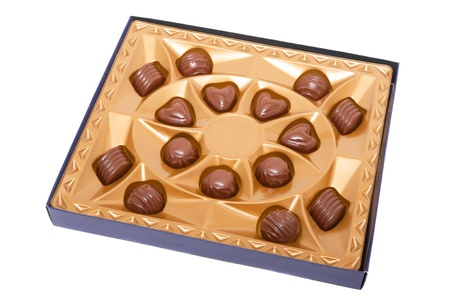 Box with chocolates isolated on a white background 版權商用圖片