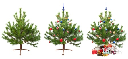 three photos of the Christmas tree for the subsequent animation isolated on white 版權商用圖片