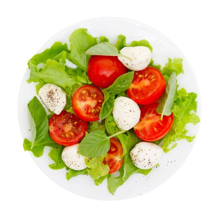 Caprese salad isolated on white Stock Photo