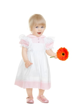 Cute baby with flower gerbera isolated on white