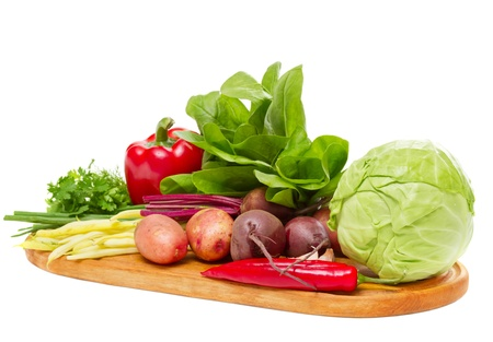 mix of fresh vegetables isolated on white