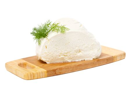 Natural cottage cheese isolated on white