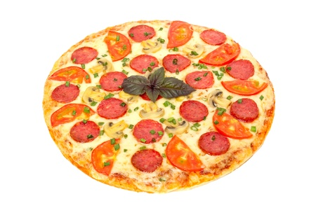 italian pizza isolated on white 版權商用圖片