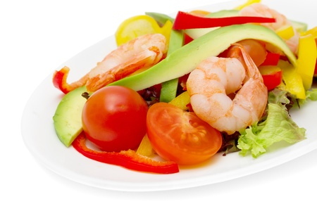 healthy salad of shrimp, mixed greens and tomatoes. Stock Photo