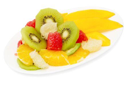 fruit salad isolated on white Stock Photo