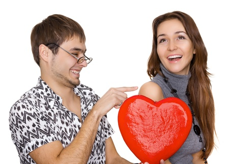 funny guy nerdy and glamorous girl in a Valentine