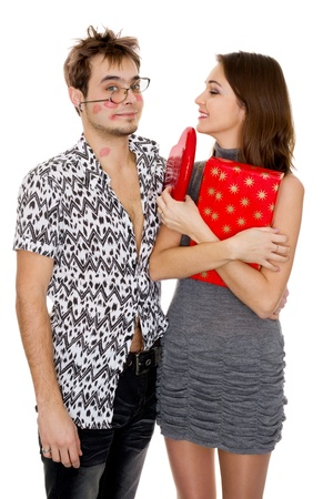 lipstick kiss: funny guy nerdy and glamorous girl in a Valentine