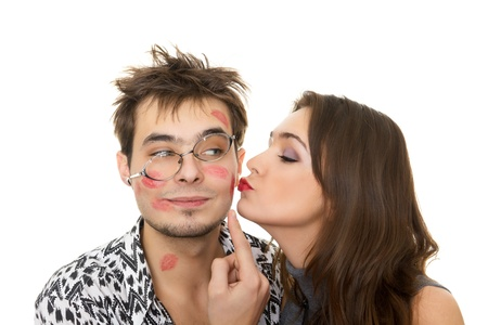funny love: funny guy nerdy and glamorous girl in a Valentine