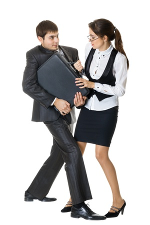 adversarial: Fighting for a briefcase, the concept of competition, isolated on white