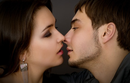 sexy young couple before kiss photo