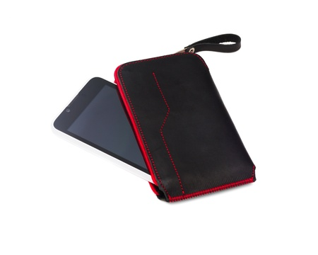smartphone in leather case isolated on white 版權商用圖片