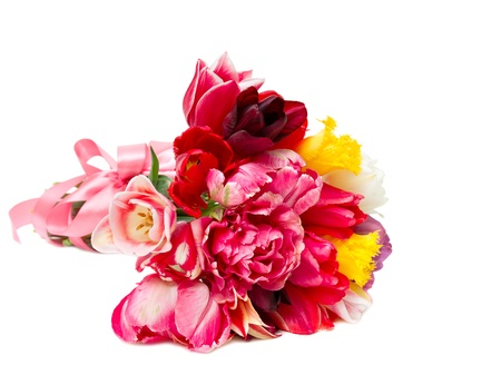 Bouquet of spring tulips isolated on white Stock Photo