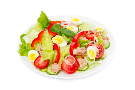 Tuna salad with lettuce, eggs and tomatoes isolated on white. 版權商用圖片