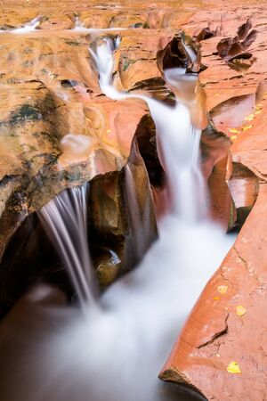 The river of Coyote Gulch cuts through the sandstone in the bottom of the desert canyon, creating unique shapes of a cascading waterfall
