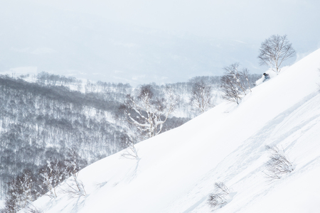 Skier in blue jacket and black helmet skiing down a powdery slope in the backcountry of Hokkaido, Japan
