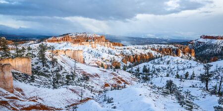 Winter Panoramic of Bryce Canyon National Park after new snow in Southern Utah desert.