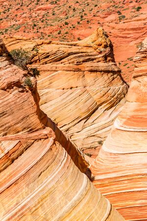 Layered depth of many sandstone towers and canyons with striated sandstone wave features in the desert of northern Arizona, close to Utah.
