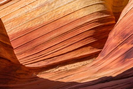 Sunlight creates interesting shapes and details in narrow canyon cut from colorful sandstone of red pink and orange rock.