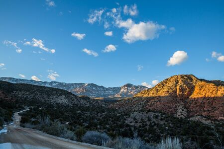 A winding dirt road makes its way into the Pine Valley Mountains of Southern Utah. High above St. George in the desert Southwest, the mountains get much more snow than the surrounding lowlands.