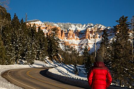 On a cold day in winter, a young man stands in a red jacket enjoying the view of red rock formations in the distance.