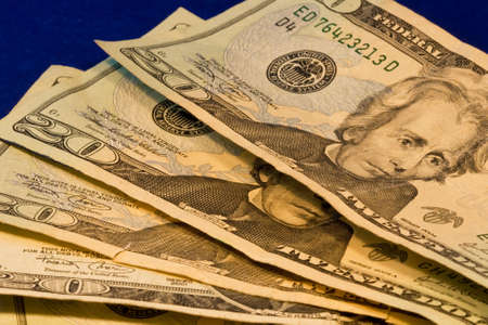earns: Close up of four american twenty dollar bills  Stock Photo