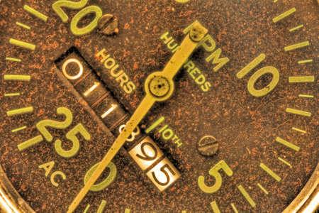 Old Tachometer with hour meter on generator in high dynamic range 版權商用圖片