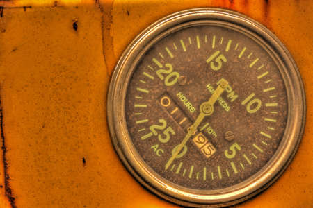 Old tachometer with hour meter in high dynamic range