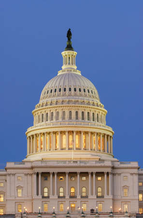 congressional: Dome of United States Capitol in Washington, DC, shown just after sunset on a warm summer evening. Stock Photo