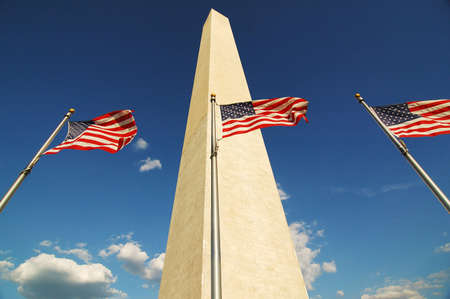 American Flags with Washington Monument Banque d'images