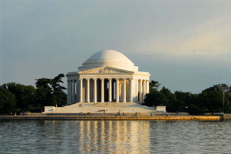 The Jefferson Memorial in Washinton, DC, shown on a summer evening.