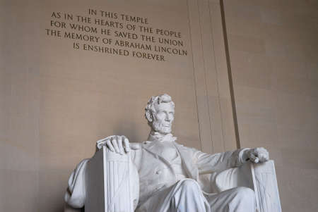 the emancipation: Statue of Abraham Lincoln at the Lincoln Memorial in Washington, DC