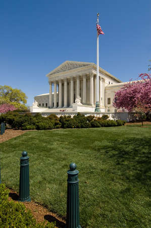 The Supreme Court Builidng on Capitol Hill, shown in springtime