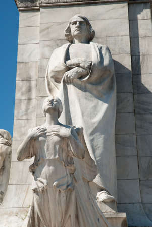 colonization: Statue of Christopher Columbus outside of Union Station in Washington, DC Stock Photo