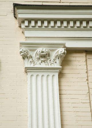 pilaster: Fluted Corinthian pilaster on the side of an old house.  Beautiful classical architecture. Stock Photo