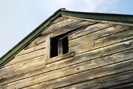 Weathered gable on side of old house