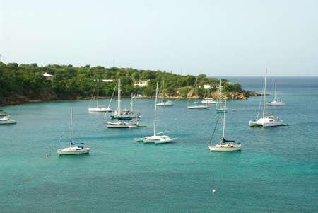 Boats moored off Honeymoon Beach, Water Island, U.S. Virgin Islands