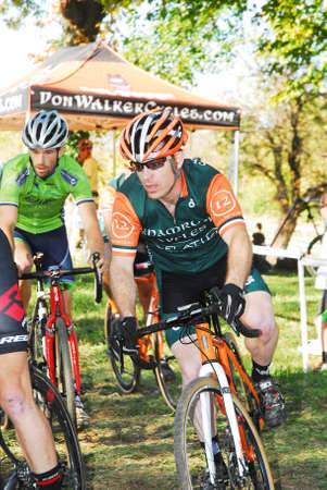 Louisville, Kentucky, Oct. 26, 2014 - Cyclists compete in the elite men