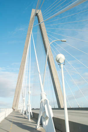Cables and towers of Arthur Ravenel Bridge in Charleston S.C.