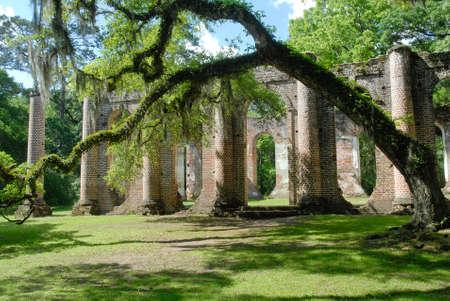 Ruins of Old Sheldon Church near Beaufort South Carolina United States. Stok Fotoğraf