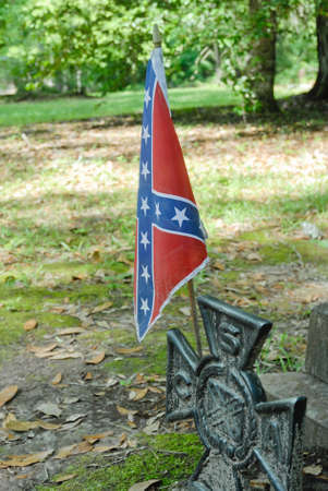 Confederate battle flag at grave of Confederate soldier near Beaufort South Carolina.