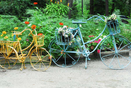 whimsey: Bicycles fashioned out of wrought iron. Beautiful artwork.