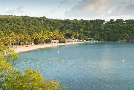 Honeymoon Beach at sunset Water Island United States Virgin Islands. Banque d'images