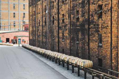 Bourbon barrels being moved at distillery in central Kentucky