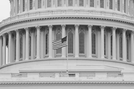 B&W American flag flying on dome of U.S. capitol building in Washington, D.C., USA Éditoriale