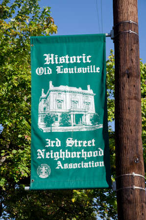 Louisville, KY - Oct. 28, 2016 - Street sign refers to Historic Old Louisville in the Old Louisville neighborhood of Louisville, Kentucky, one of the largest collections of Victorian architecture in the United States. Editorial