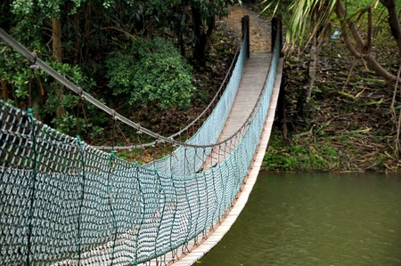 wire rope: Hanging bridge over lake in the Rainforest Discovery Centre (RDC) near Sepilok in Sabah, Malaysia