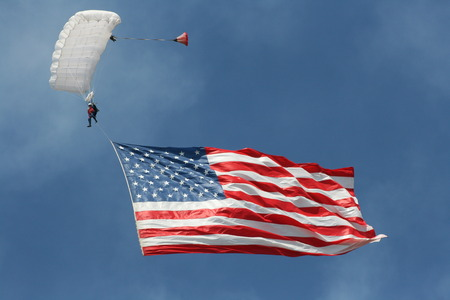 High flying american flag Banco de Imagens