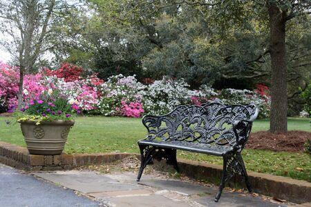 flower garden background behind a wrought iron bench 免版税图像